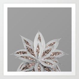 Gray Agave with Rose Gold Glitter #1 #shiny #tropical #decor #art #society6 Art Print