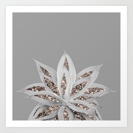 Gray Agave with Rose Gold Glitter #1 #shiny #tropical #decor #art #society6 Art Print