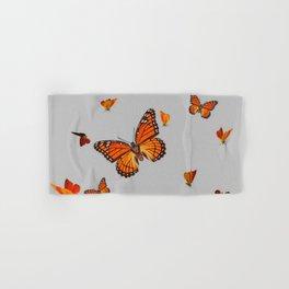 FLOCK OF ORANGE MONARCH BUTTERFLIES ART Hand & Bath Towel