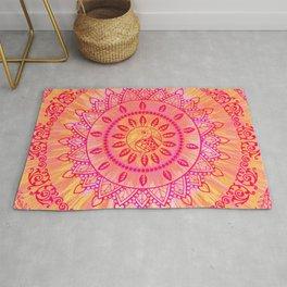 Mandala Orange Pink Spiritual Zen Hippie Bohemian Yoga Mantra Meditation Rug