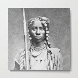 Woman of the African Dahomey Tribe, Circa 1890 black and white photograph / black and white photography Metal Print