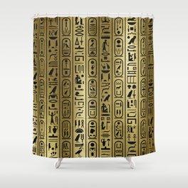 Black hieroglyphs pattern on Ancient Gold Shower Curtain