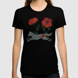 Leaping Wolf Folk Art T-shirt