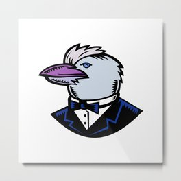 Kookaburra Wearing Tuxedo Woodcut Color Metal Print