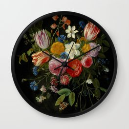 """Jan van Kessel de Oude """"Tulips, peonies, chicory, carnations, cherry blossom and other flowers"""" Wall Clock"""