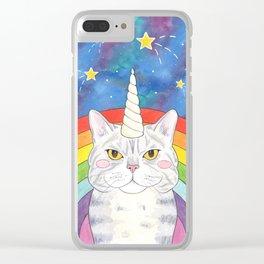 Magical Caticorn Rainbow Galaxy Clear iPhone Case
