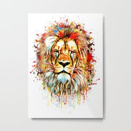 lion face abstract illustration Metal Print