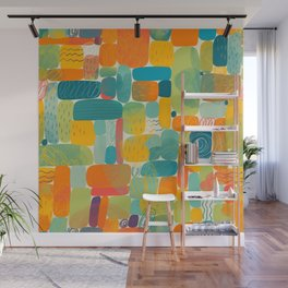 Funny color block abstract shape painting illustration pattern Wall Mural