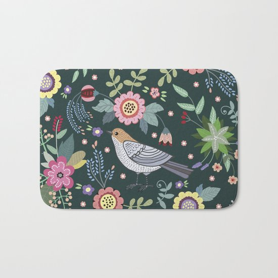 Pattern with beautiful bird in flowers Bath Mat