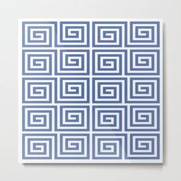 Greek Key Pattern 121 Blue Metal Print