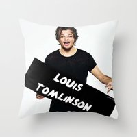 louis tomlinson Throw Pillows featuring Louis Tomlinson by girllarriealmighty