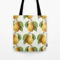 pear Tote Bags featuring Pear by Grace