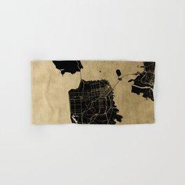 San Francisco California Black and Gold Map Hand & Bath Towel
