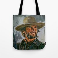 clint eastwood Tote Bags featuring  Clint Eastwood by andy551