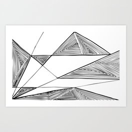 Triangles perspective geometric ink-pen drawing Art Print