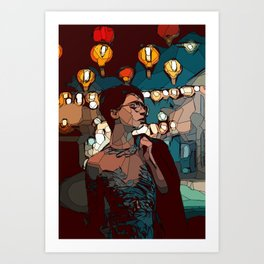 Lady with lace body dress with lanterns on the background Art Print