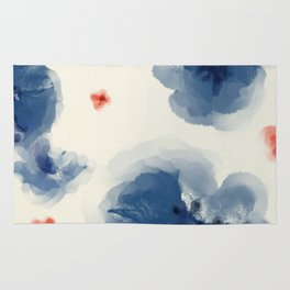 Blue Blooms with Coral Rug