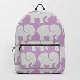 Troop Of Elephants (Elephant Pattern) - Gray Purple Backpack