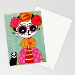 Day Of The Dead Frida with Black Cat Stationery Cards