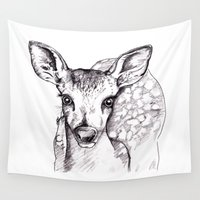 fawn Wall Tapestries featuring Little Fawn by With The Birds