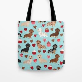Dachsund dachsie doxie valentines day valentine hearts love cupcakes cute dog gifts Tote Bag