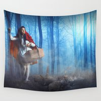 red riding hood Wall Tapestries featuring Red Riding Hood by Rose's Creation