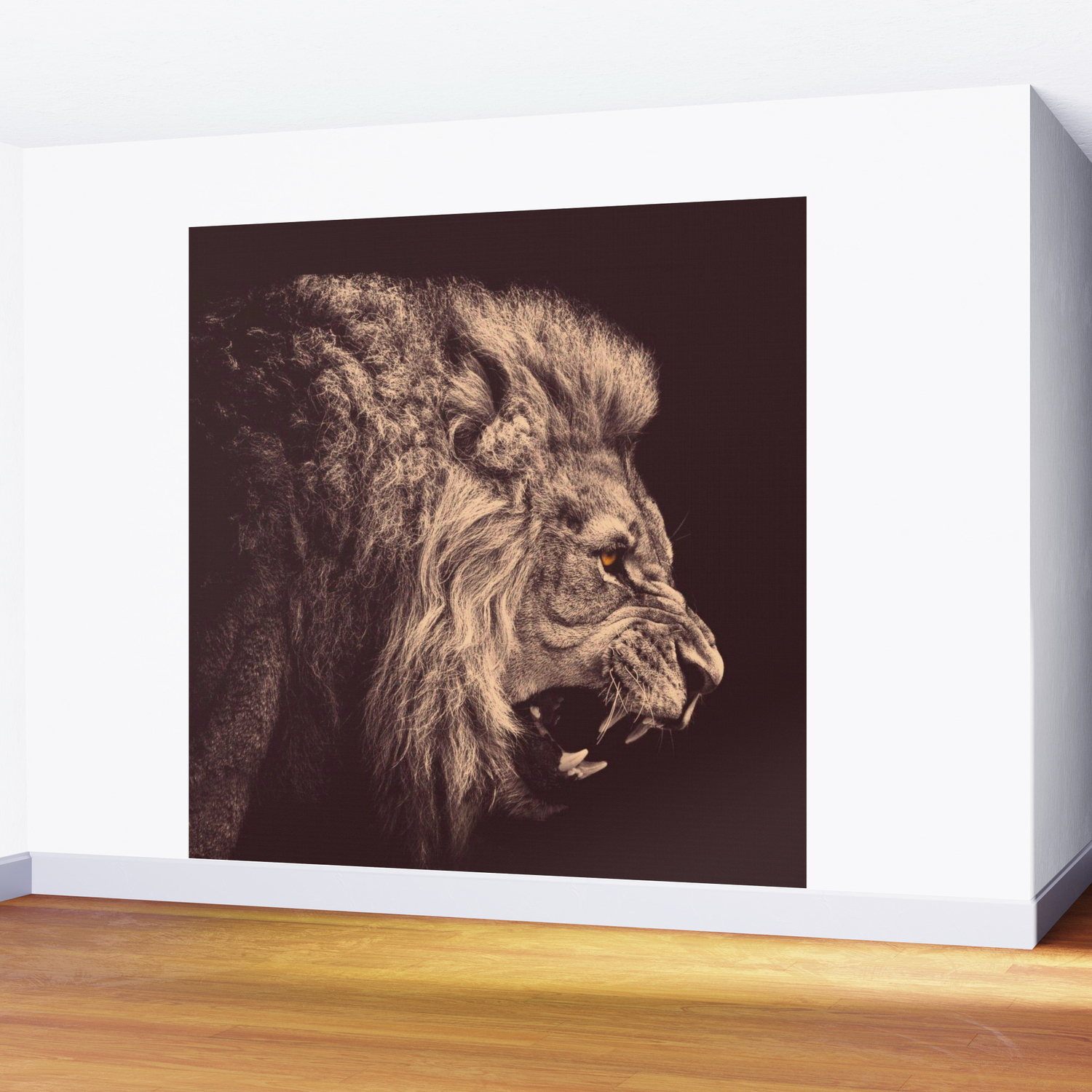 Lion pencil art lion roar black and white wall mural