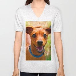 Pinscher Smiling Blue Collar Dog Unisex V-Neck