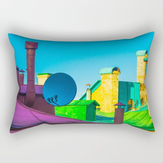 The brightness of the roofs of the city Rectangular Pillow