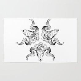 Floral Skull Illustration Rug