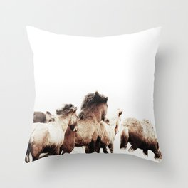 WILD AND FREE 2 - HORSES OF ICELAND Throw Pillow