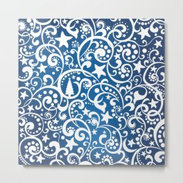 White On Blue Holiday Abstract Floral Design Metal Print