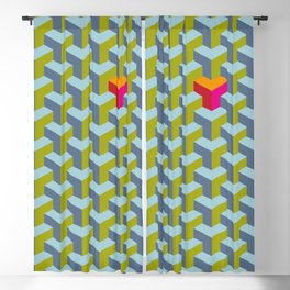 Be yourself - geomtric op art pattern Blackout Curtain