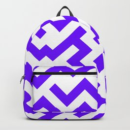 White and Indigo Violet Diagonal Labyrinth Backpack
