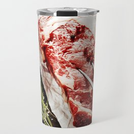 Raw beef steak with meat fork and ingredients on wooden background Travel Mug