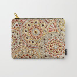 Beige and gold many circles acrylic dot art Carry-All Pouch