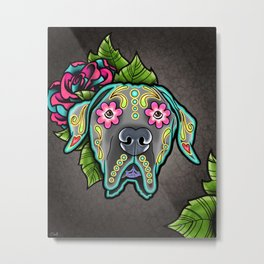 Great Dane with Floppy Ears - Day of the Dead Sugar Skull Dog Metal Print