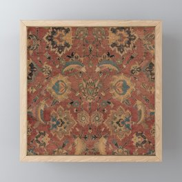 Flowery Boho Rug IV // 17th Century Distressed Colorful Red Navy Blue Burlap Tan Ornate Accent Patte Framed Mini Art Print