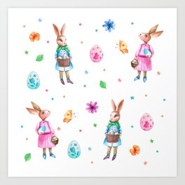 Easter pattern with rabbits and eggs Art Print