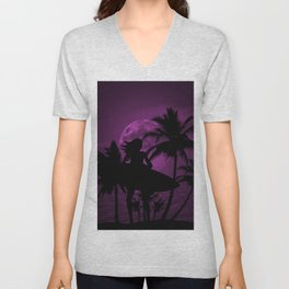 Purple Dusk with Surfergirl in Black Silhouette with Shortboard Unisex V-Neck