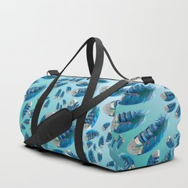 """""""Blue feathers flying in the air"""" Duffle Bag"""