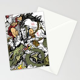 knight fighting a dragon Stationery Cards