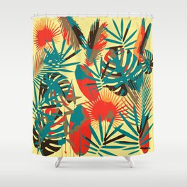 Abstract Exotique Leaves Shower Curtain