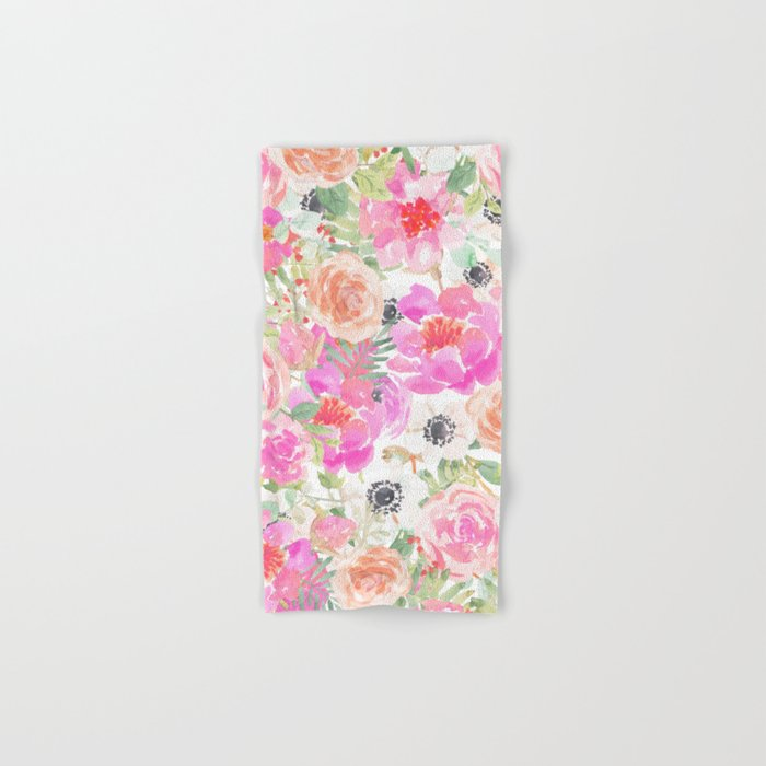 Modern Pink Coral Watercolor Hand Painted Floral Hand Bath Towel By Pink Water Society6