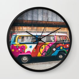 combi color flower pattern Wall Clock