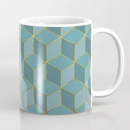 MISTY BLUE CUBE PATTERN (Gold Lined) Coffee Mug