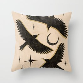 Black birds flying with the Moon Throw Pillow