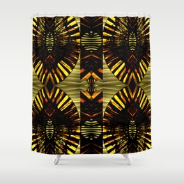 FanFare Whimsey on Gold,Green,Red,Gray,Black Shower Curtain