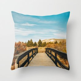 Patagonian Wooden Bridge Throw Pillow