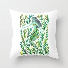 Kelp Forest Mermaid – Green Palette Throw Pillow